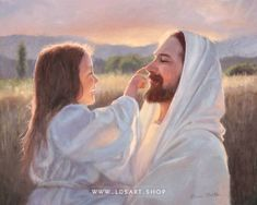 Jesus Christ – Gentle Touch Painting - A fine art painting of a young girl gently playing with Christ. Painting by Karen Foster. Many sizes available framed or as a canvas wrap or single print. Jesus Christ Lds, Jesus Is Lord, Savior, Jesus Father, Jesus Scriptures, Images Du Christ, Pictures Of Jesus Christ, Jesus Wallpaper, Image Jesus