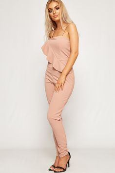 c64b7ac282 Emily Strappy Frill Wrapover Shoulder Jumpsuit