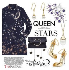 """""""Queen of stars with Little h Jewelry"""" by littlehjewelry ❤ liked on Polyvore featuring Valentino, Dolce&Gabbana, Victoria Beckham, pearljewelry, littlehjewelry and holiday2015"""