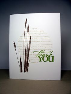 handmade card ... one layer ... three stamps ... circle with script ... silhouette of cattails ... Thank You ... serene and elegant feel ... luv it!
