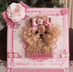 happy birthday easel card with handmade Yorkie OOAK