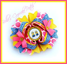 Minion Hair Bow Despicable Me 2 Hair Bow by BellasCupcakePatch, $12.50