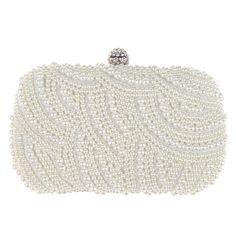 Luxury Clutch Purse Women Crystal Diamond Evening Bags White Pearl Beaded  Shoulder Party Bag Bridal Wedding Clutches Handbags 7a5c4bbf6636