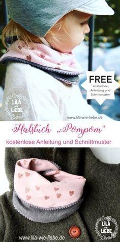 """Halstuch """"Pompom"""" Freebook - Lila wie Liebe"""