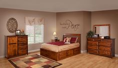"The Classic Shaker bedroom suite is shown with underbed storage drawers in brown maple. Dresser: 63""W x 22""D x 43""H Mirror: 42""W x 32""H Man's Chest: 50""W x 20""D x 51""H Nightstand: 21 1/2""W x 18""D x 32 1/2""H 