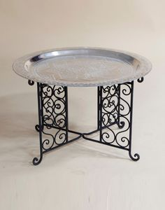 70cm Engraved Brass Coffee Table in Silver with Iron Base