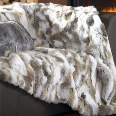 Real Rabbit Fur Blanket Rug Bed Real Fur Carpet Xmas Charming 62'' X 55'' Tache
