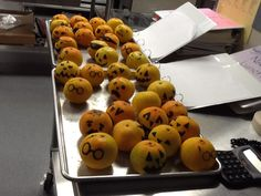 Pumpkin Faces on oranges were a big surprise for the students at Trinity Oaks Elementary for Halloween!