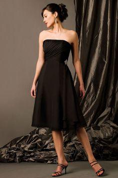 Strapless knee-length chiffon bridesmaid dress