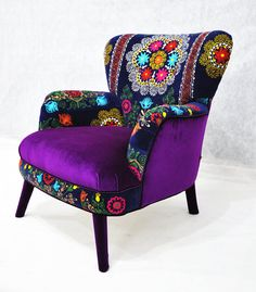 Patchwork armchair with Uzbek Suzani fabrics by namedesignstudio, $1600.00