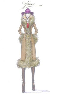 Olivia Wilde's Rush costume, Sketch by Frida Giannini for Gucci
