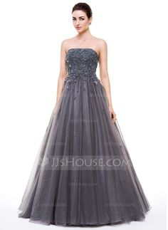 Ball-Gown Strapless Floor-Length Tulle Prom Dress With Beading Appliques Lace Flower(s) Sequins (018056632) - JJsHouse