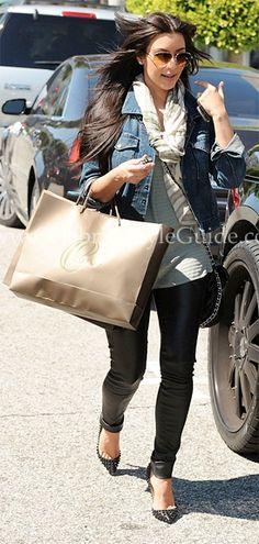 Kim Kardashian: BCBG leggings, chanel St. Tropez classic bag, christian louboutin spike leather pumps