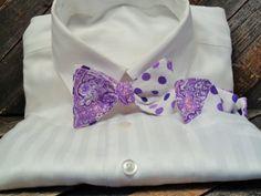 Mens cotton seltie bowtie reversible bowties by LookForMeBowties
