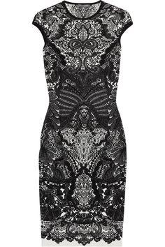 Alexander McQueen|Wool-blend intarsia dress