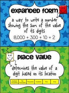 This is a poster dealing with place value. I would use this in my classroom to hang in the classroom so children could refer back to it while working on expanded form and place value.