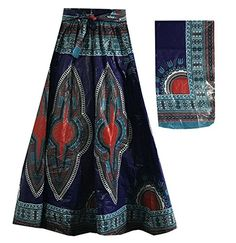 Decora Apparel African Women Dashiki Maxi Long Skirts with Pockets Girls Midi Skirt Elastic Waist One Size African Skirt, African Dashiki, Ankara Skirt, Elastic Waist Skirt, Tie Dye Skirt, Wax, Amazon, Skirts, Fabric