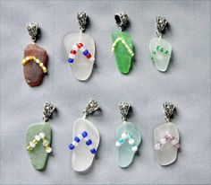 ♡ ♥ ♡OMG I LOVE THESE!!!  Sea Glass Pendants or Charms Sea Glass Flip Flop by oceansbounty, $12.00