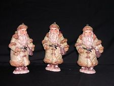 """3 Rustic Old World Santa ClausArt Clay Pottery Christmas Tree Ornaments 5"""""""
