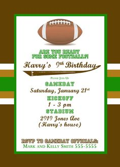 Custom Personalized Football Theme First Birthday Invitation