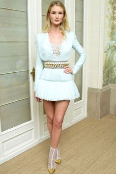 Rosie Huntington-Whiteley in Balmain cruise 2014 pastel blue short #dress