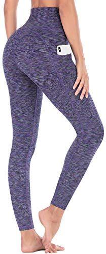 ca6925db17 IUGA High Waist Yoga Pants with Pockets, Tummy Control, Workout Pants for  Women 4 Way Stretch Yoga Leggings with Pockets (Space Dye Light Purple,  Medium)