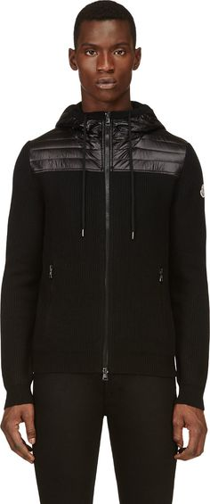 Moncler: Black Quilted Hooded Sweater | SSENSE