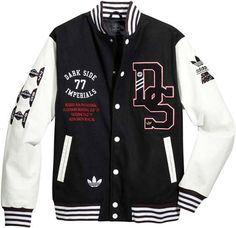 Adidas x Star Wars Super Death Star Baseball Jacket Varsity Wool Leather Coat Varsity Jacket Outfit, Adidas Baseball, Cool Jackets, Looks Style, Swagg, Menswear, Mens Fashion, Star Wars, Shirts
