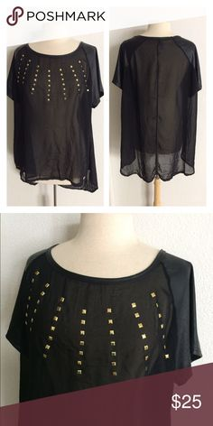 """FINAL💲(Plus) Studded top NWOT Black sheer studded top. Size 2x. Measures 27"""" long in front, 31"""" in back, and has a 48"""" bust. Completely sheer (minus the sleeves). Faux leather sleeves. 100% polyester. This has no stretch. NWOT- Purchased from a retailer on posh, but it doesn't suit me well.  🚫NO TRADES🚫 💲Reasonable offers accepted💲 💰Ask about bundle discounts💰 Boutique Tops"""