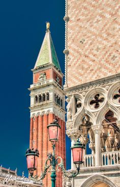 Bell Tower and Doges Palace in St. Marks Square Venice, Italy