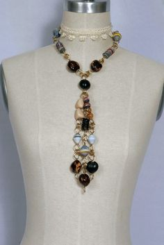 Gorgeous Stones & Paperbead Necklace