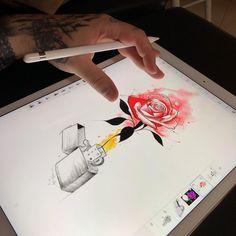 Projeto pra amanhã :) #ipadprotattooteam #mrtorture #rosetattoo #zippo #tattoo #tatuagem #tatuaje #rosa #rose #sketch #art #arte #desenho…