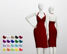 Pencil dress with strap neck (20 colors) by Rusty Nail for The Sims 4
