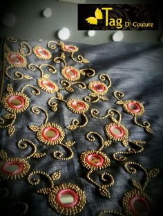 Beads n mirror embroidery work ! Embroidery On Kurtis, Kurti Embroidery Design, Embroidery Neck Designs, Embroidery Works, Aari Embroidery, Kids Blouse Designs, Simple Blouse Designs, Bridal Blouse Designs, Mirror Work Blouse Design