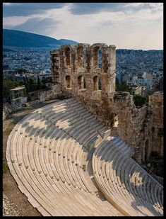 The Odeon of Herodes Atticus is a stone theatre structure located on the southwest slope of the Acropolis. It was built in 161 AD. Athens, Greece