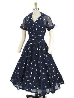 Vintage Navy Blue Chiffon Polka Dot Swing Dress