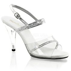 "Fitness Competition Heels - Women Sexy 4"" Heel Rhinestones Detail Clear Slide Sandal"