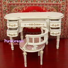 1:6 Dollhouse Victorian Furniture Vanity Dressing Table Stool Handcrafted SL016 | eBay