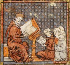 """Lezione di filosofia a Parigi – miniatura dalle """"Grandes chroniques de France"""", fine XIV secolo – Castres, biblioteca municipale."""