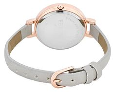 Ferenzi Women's | Elegant Large Silver Face Watch with Thin Grey Band | FZ15501