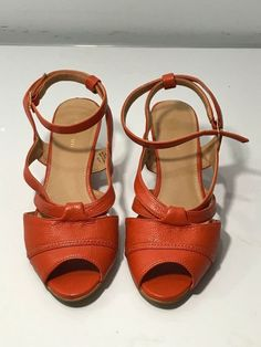 Marco Santi Womens size 9.5 M DARBY Wedges Platforms Orange Ankle Straps  #MarcoSanti #PlatformsWedges #Casual