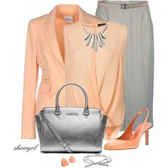 """Peach And Grey And A Kate Spade Bow Contest"" by sherryvl on Polyvore"