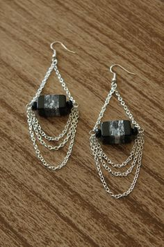 Chain Dangle Earring with Black Square Stripped Bead. $12.00, via Etsy.