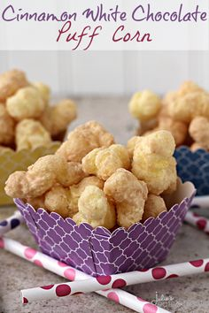 Cinnamon White Chocolate Puff Corn ~ Perfectly Sweet & Salty, Melt in Your Mouth Puff Corn Covered in a Cinnamon White Chocolate! Popcorn Recipes, Fudge Recipes, Snack Recipes, Dessert Recipes, Nut Recipes, Dessert Ideas, Appetizer Recipes, Just Desserts, Delicious Desserts