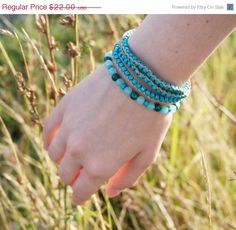 Fall Sale Multilayered Stack Macrame Turquoise Aqua Blue by ByLEXY