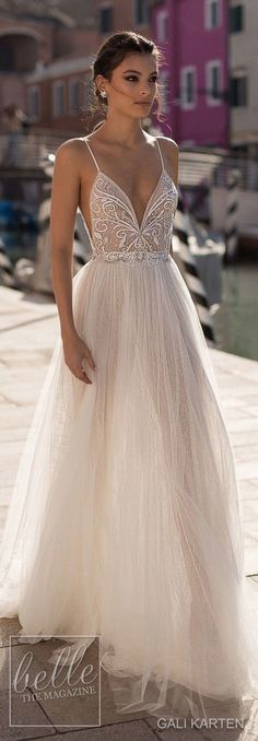 gali karten 2018 bridal spaghetti strap deep plunging sweetheart neckline heavily embellished bodice high slit skirt soft a line wedding dress open scoop back sweep train lv — Gali Karten 2018 Wedding Dresses - Boho Wedding Wedding Dresses 2018, Bridal Dresses, Weeding Dresses, Bridesmade Dresses, Beach Dresses, Sexy Dresses, Sweetheart Wedding Dress, Tulle Wedding, Dress Wedding