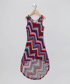 Take a look at this Blue Zigzag Hi-Low Dress - Toddler & Girls by Retro Rags on #zulily today!