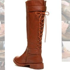 Tall Brown Back Lace-Up Boots