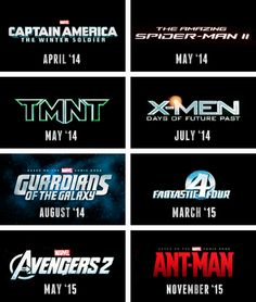 Upcoming comic book/graphic novel movies 2014 & 2015. X MEN FC For the WIN!!!