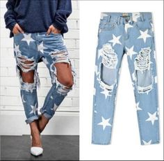 Women Star Distressed Ripped Destroy Fringed Printed  Boyfriend Jeans Pants L137 in Clothes, Shoes & Accessories, Women's Clothing, Jeans | eBay!